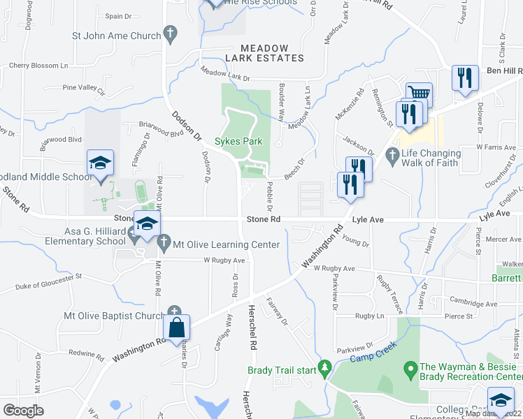 map of restaurants, bars, coffee shops, grocery stores, and more near 2505 Stone Road in Atlanta