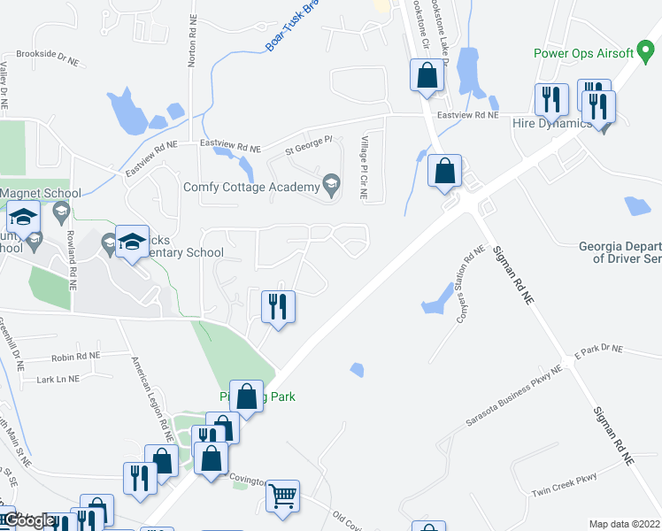 map of restaurants, bars, coffee shops, grocery stores, and more near 2142-2152 Belmont Circle Northeast in Conyers