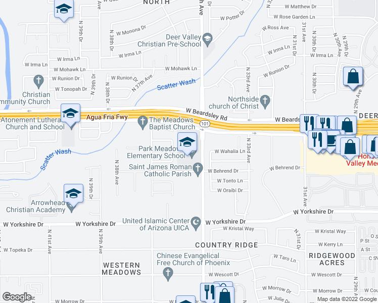 map of restaurants, bars, coffee shops, grocery stores, and more near 20012 North 35th Avenue in Glendale