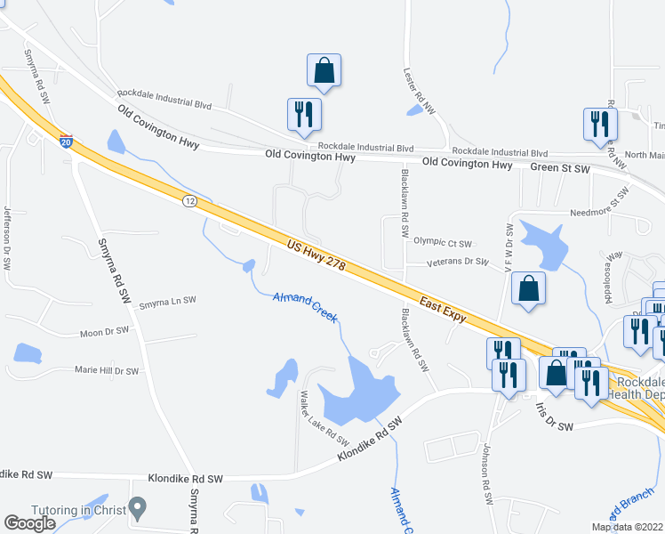 map of restaurants, bars, coffee shops, grocery stores, and more near 1720 Iris Drive Southwest in Conyers