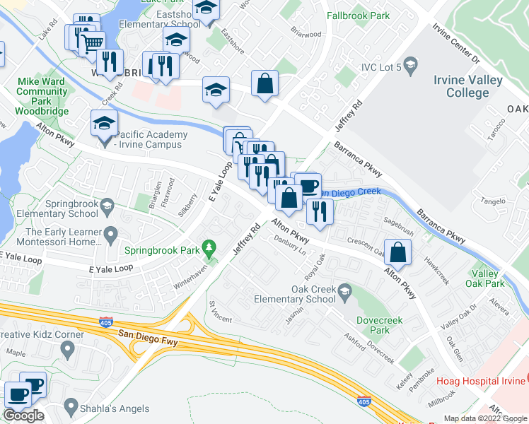 map of restaurants, bars, coffee shops, grocery stores, and more near Jeffrey Rd & Alton Pkwy in Irvine