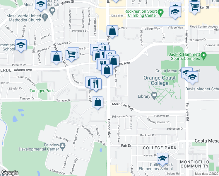 map of restaurants, bars, coffee shops, grocery stores, and more near in Costa Mesa