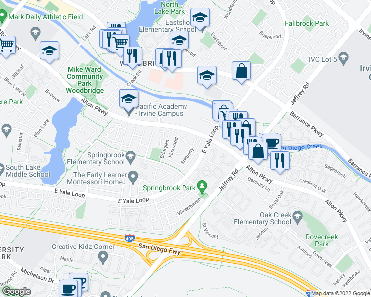 map of restaurants, bars, coffee shops, grocery stores, and more near 22 Buttonwood in Irvine