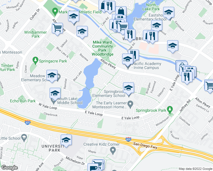 map of restaurants, bars, coffee shops, grocery stores, and more near Clearlake in Irvine