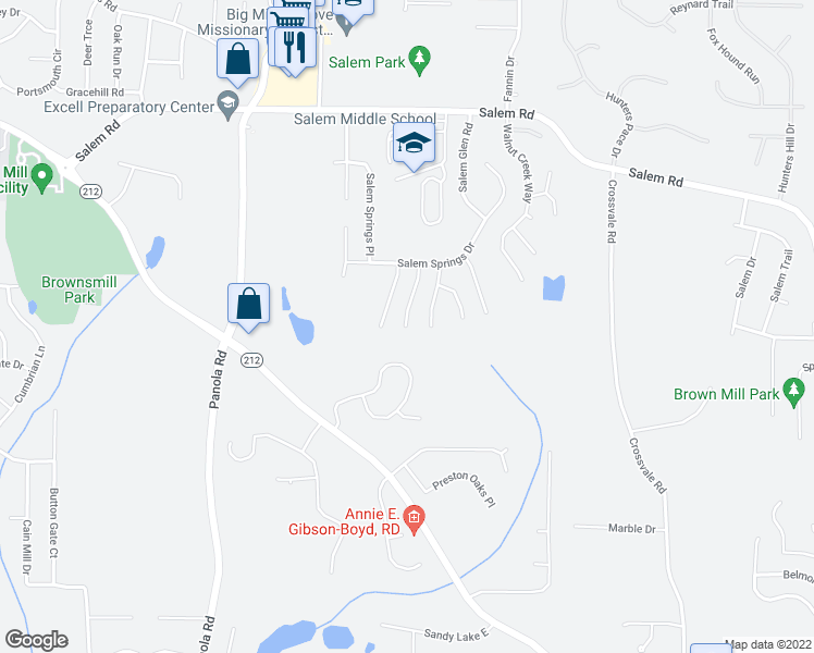 map of restaurants, bars, coffee shops, grocery stores, and more near 3735 Salem Chapel Dr in Lithonia