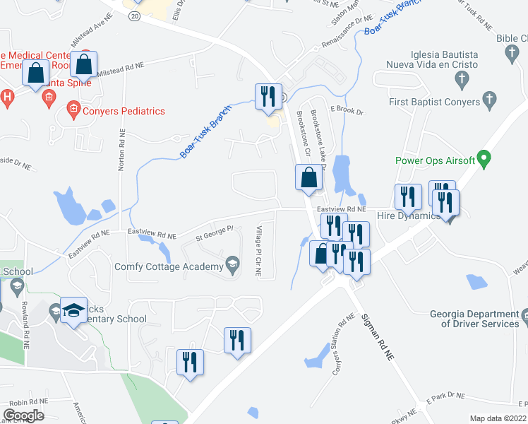 map of restaurants, bars, coffee shops, grocery stores, and more near 1701 Brandon Glen Way Northeast in Conyers