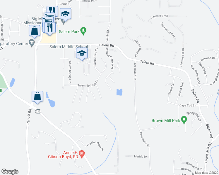 map of restaurants, bars, coffee shops, grocery stores, and more near 3762 Walnut Creek Way in Lithonia