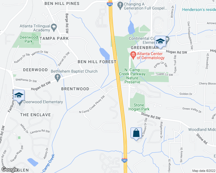 map of restaurants, bars, coffee shops, grocery stores, and more near 3381-3427 Stone Rd SW in Atlanta