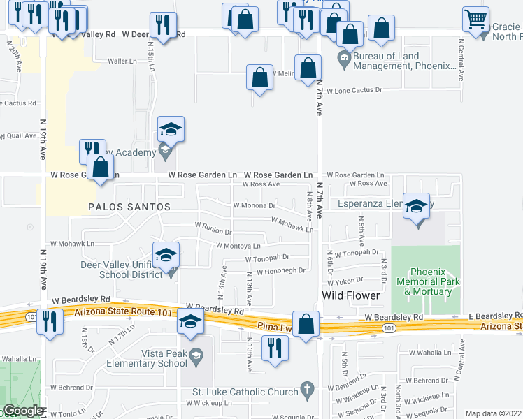 map of restaurants, bars, coffee shops, grocery stores, and more near 1019 W Monona Dr in Phoenix