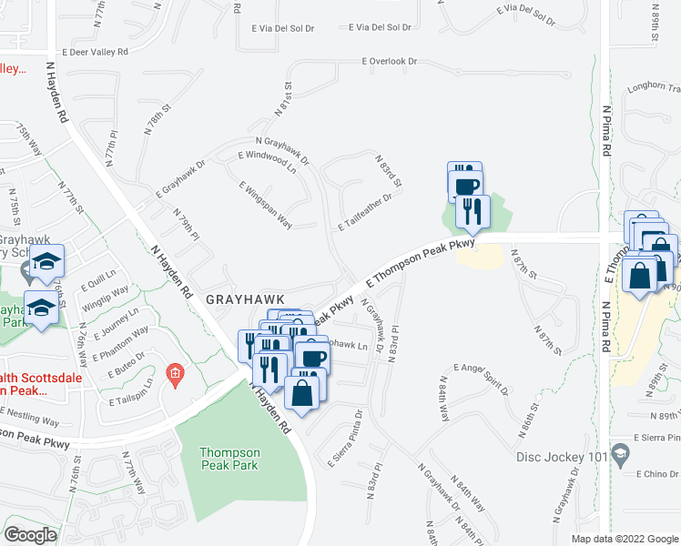 map of restaurants, bars, coffee shops, grocery stores, and more near 20802 North Grayhawk Drive in Scottsdale