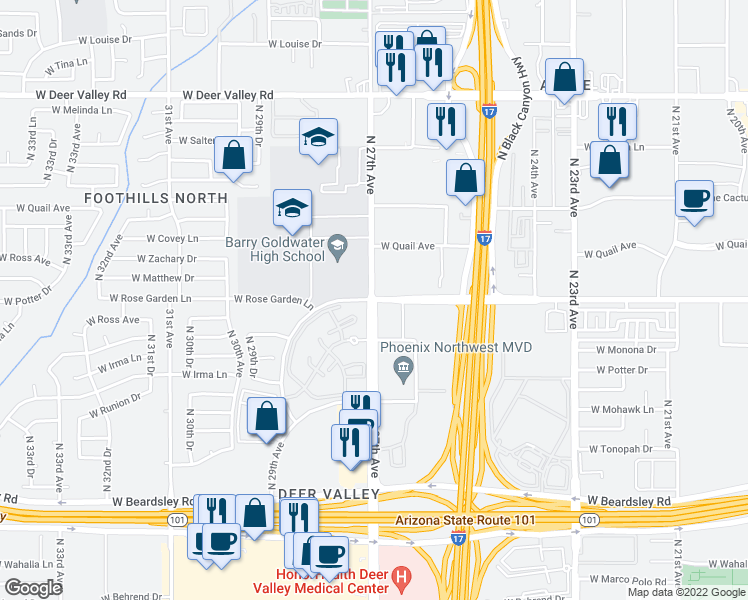 map of restaurants, bars, coffee shops, grocery stores, and more near W Rose Garden Ln & N 27th Ave in Phoenix