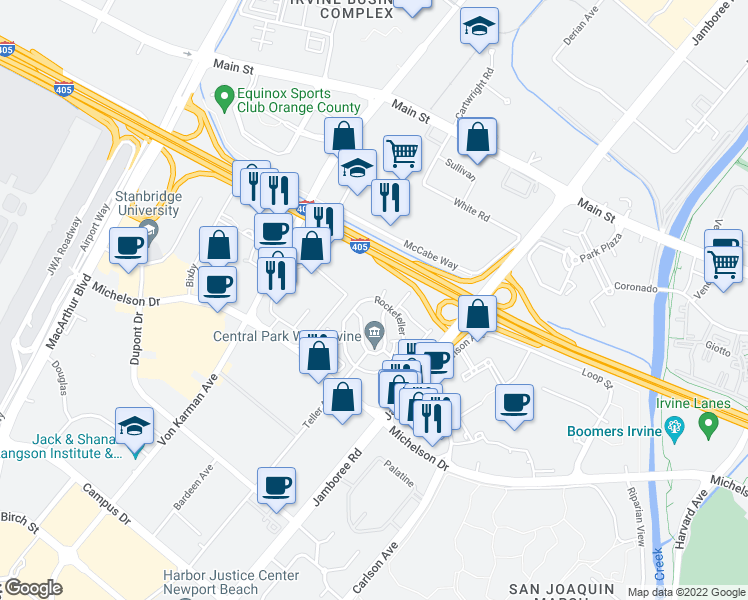 map of restaurants, bars, coffee shops, grocery stores, and more near 402 Gramercy in Irvine