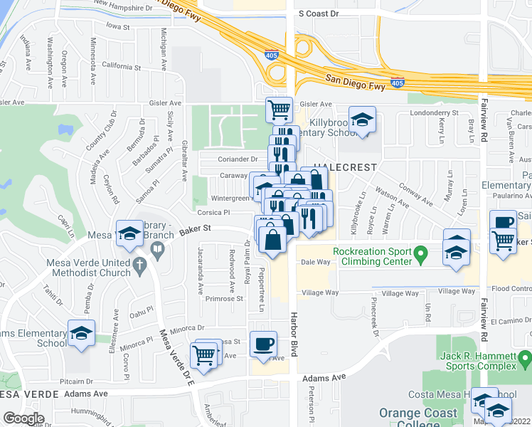 map of restaurants, bars, coffee shops, grocery stores, and more near 3000 Deodar Ave in Costa Mesa