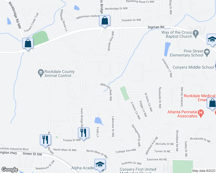 map of restaurants, bars, coffee shops, grocery stores, and more near 1515 Mountain View Circle Northwest in Conyers