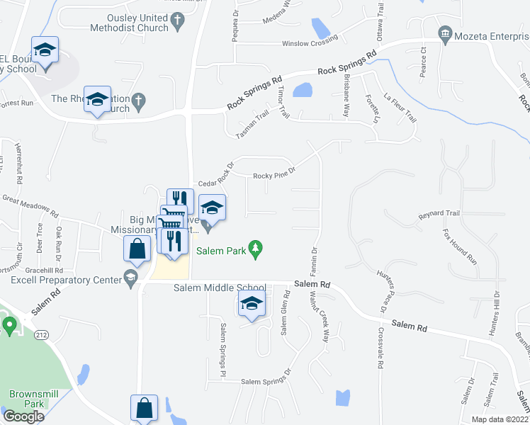map of restaurants, bars, coffee shops, grocery stores, and more near 5356 Bleckley Ct in Lithonia
