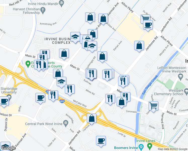 map of restaurants, bars, coffee shops, grocery stores, and more near 2551-2641 Main Street in Santa Ana