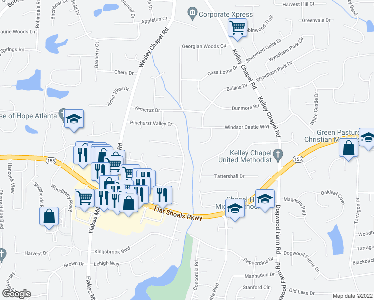 map of restaurants, bars, coffee shops, grocery stores, and more near 4034 Pin Oak Trail in Decatur