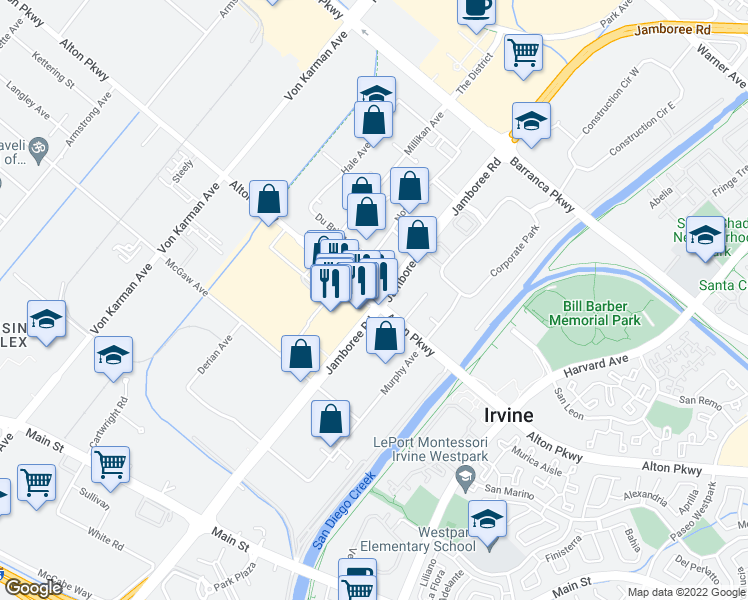 map of restaurants, bars, coffee shops, grocery stores, and more near 2710 Alton Parkway in Irvine