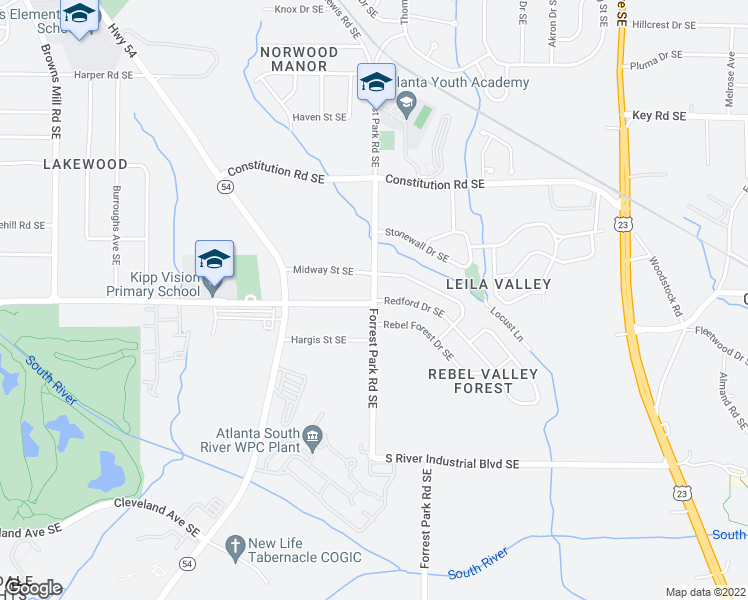 map of restaurants, bars, coffee shops, grocery stores, and more near Forrest Park Rd SE & Redford Dr SE in Atlanta