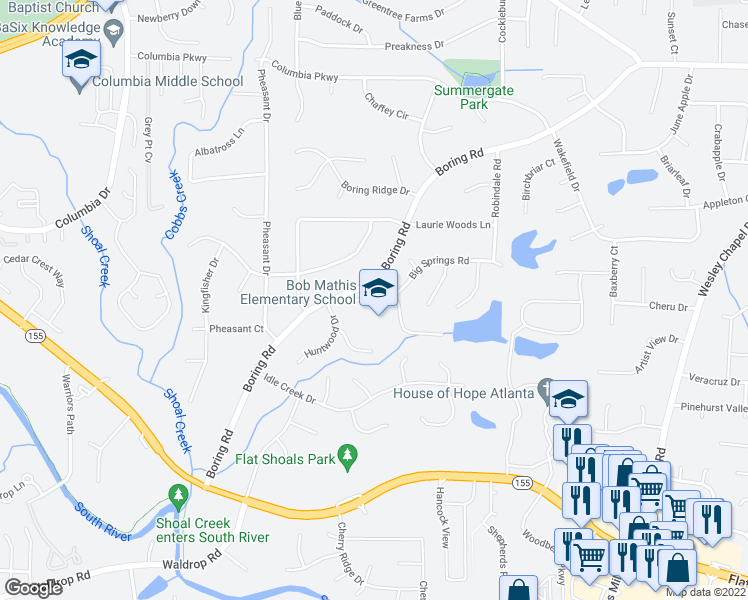 map of restaurants, bars, coffee shops, grocery stores, and more near 3487-3495 Boring Road in Decatur