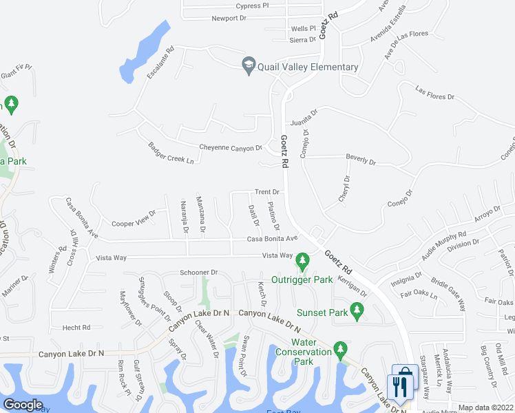 map of restaurants, bars, coffee shops, grocery stores, and more near 29546 Datil Dr in Canyon Lake