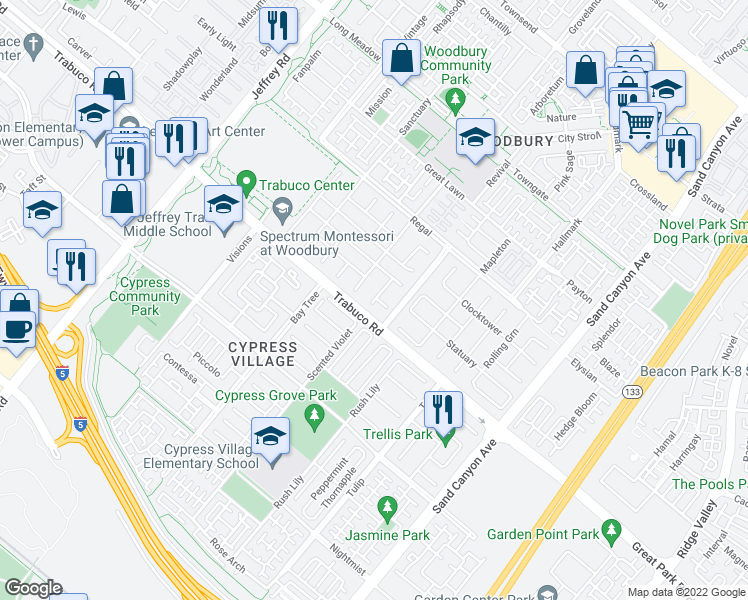 map of restaurants, bars, coffee shops, grocery stores, and more near 21 Paperbark in Irvine