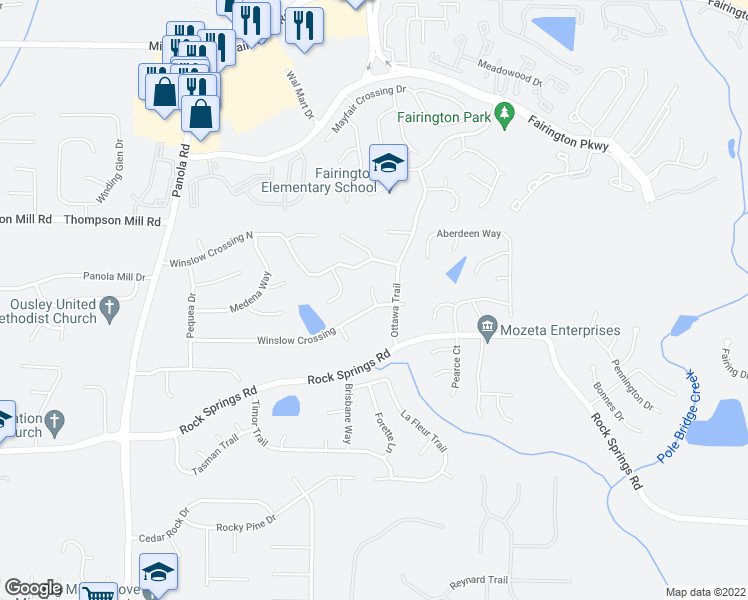 map of restaurants, bars, coffee shops, grocery stores, and more near 5491 Winslow Crossing in Lithonia