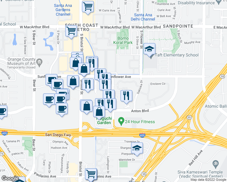 map of restaurants, bars, coffee shops, grocery stores, and more near 3400 Avenue of the Arts in Costa Mesa