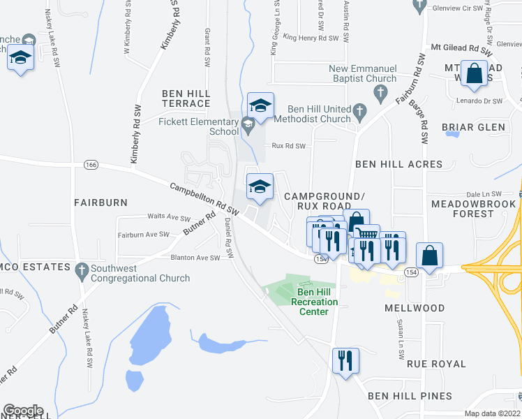 map of restaurants, bars, coffee shops, grocery stores, and more near 3881 Campbellton Rd SW in Atlanta