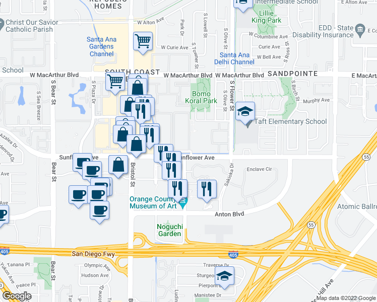 map of restaurants, bars, coffee shops, grocery stores, and more near 815 W Stevens Ave in Santa Ana