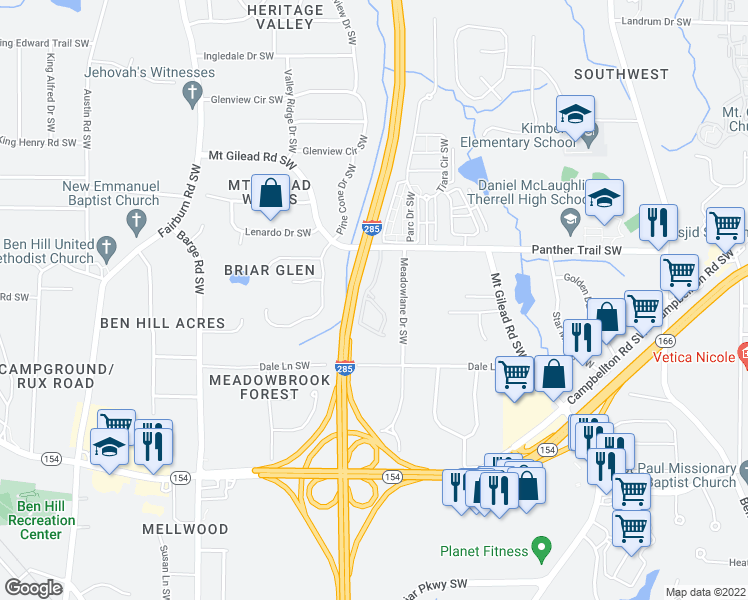 map of restaurants, bars, coffee shops, grocery stores, and more near 2181 Meadowlane Drive Southwest in Atlanta