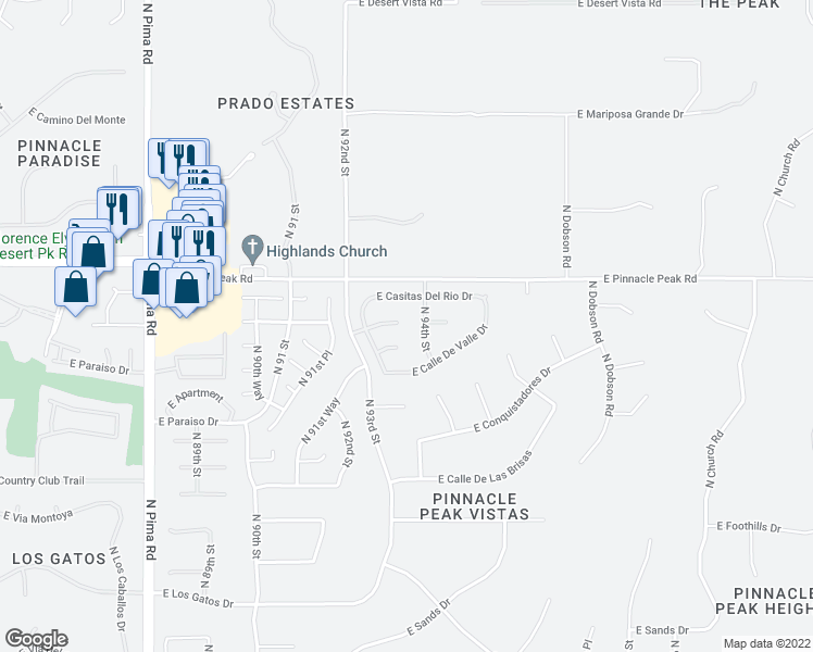 map of restaurants, bars, coffee shops, grocery stores, and more near 9331 East La Posada Court in Scottsdale