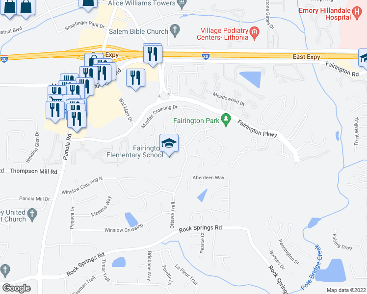 map of restaurants, bars, coffee shops, grocery stores, and more near 2801-2899 Ottawa Trail in Lithonia