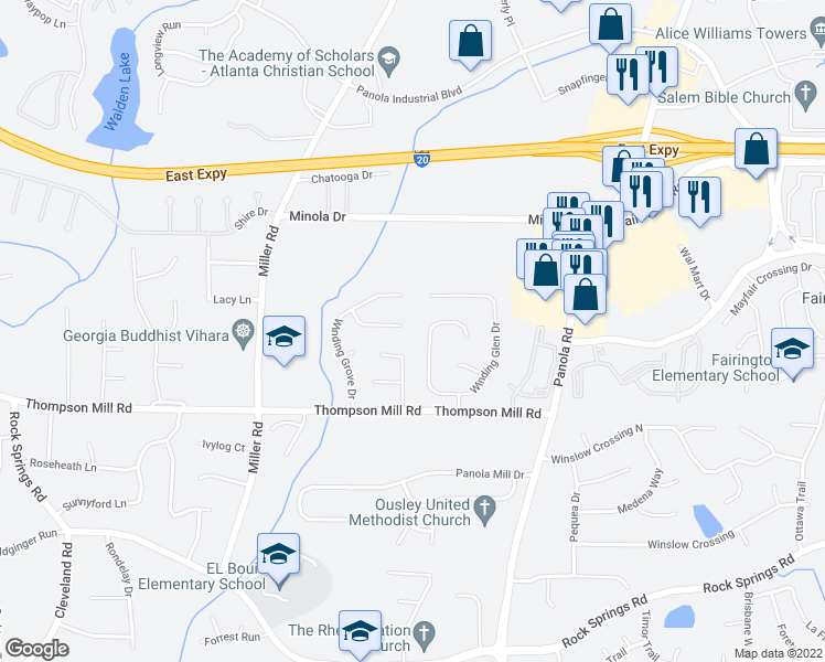 map of restaurants, bars, coffee shops, grocery stores, and more near 5165 Grove Field Place in Lithonia