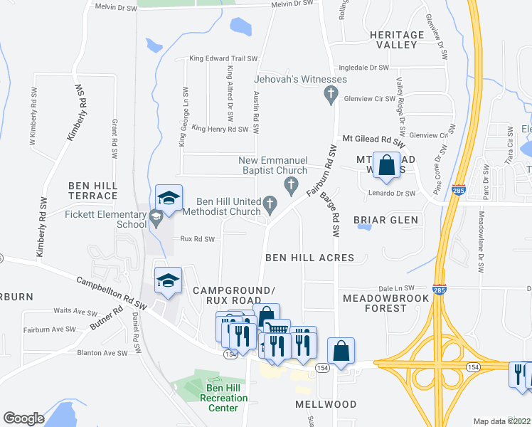map of restaurants, bars, coffee shops, grocery stores, and more near 2099 Fairburn Rd SW in Atlanta