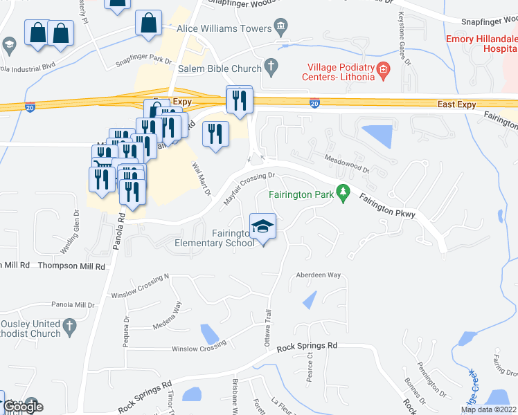 map of restaurants, bars, coffee shops, grocery stores, and more near 3040 Highland Park Lane in Lithonia