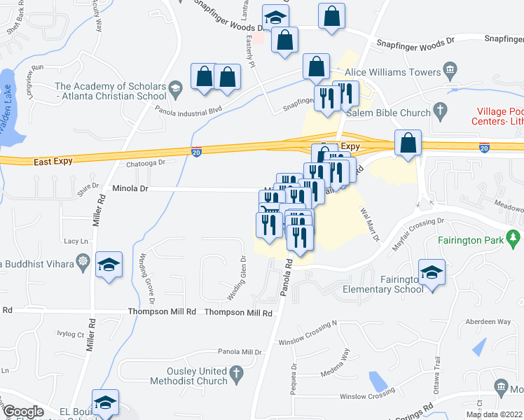 map of restaurants, bars, coffee shops, grocery stores, and more near 5225 Minola Drive in Lithonia