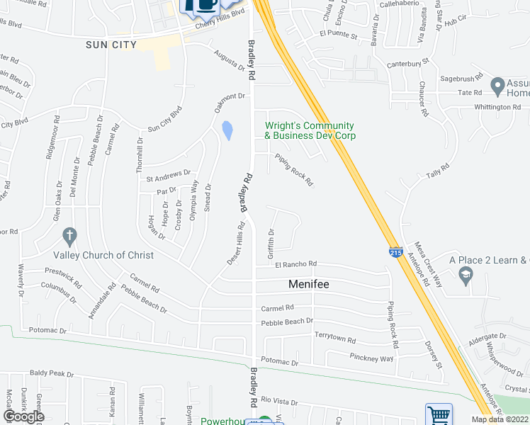 map of restaurants, bars, coffee shops, grocery stores, and more near 27021 Crews Hill Dr in Sun City