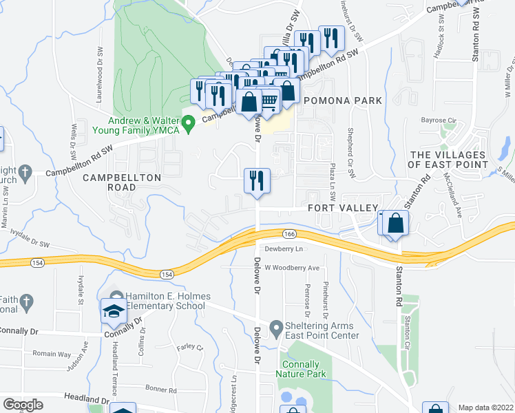 map of restaurants, bars, coffee shops, grocery stores, and more near 1991 Delowe Drive in Atlanta