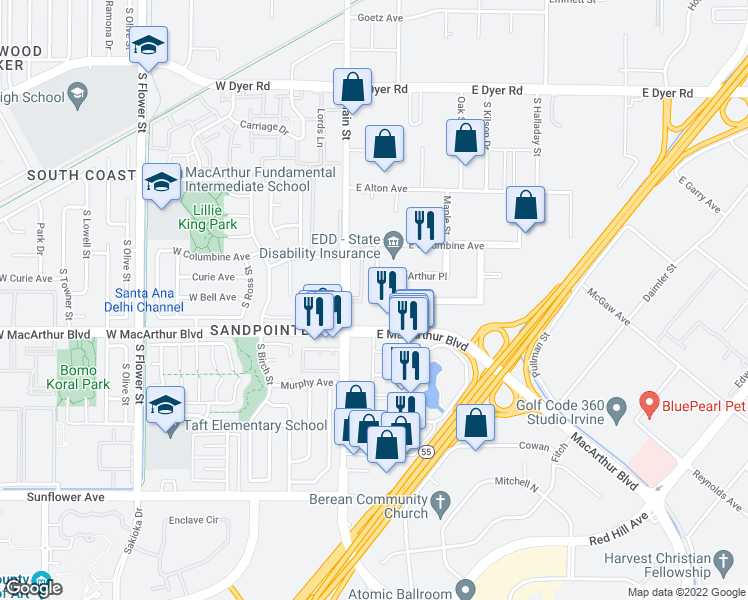 map of restaurants, bars, coffee shops, grocery stores, and more near 31 E Macarthur Crescent in Santa Ana