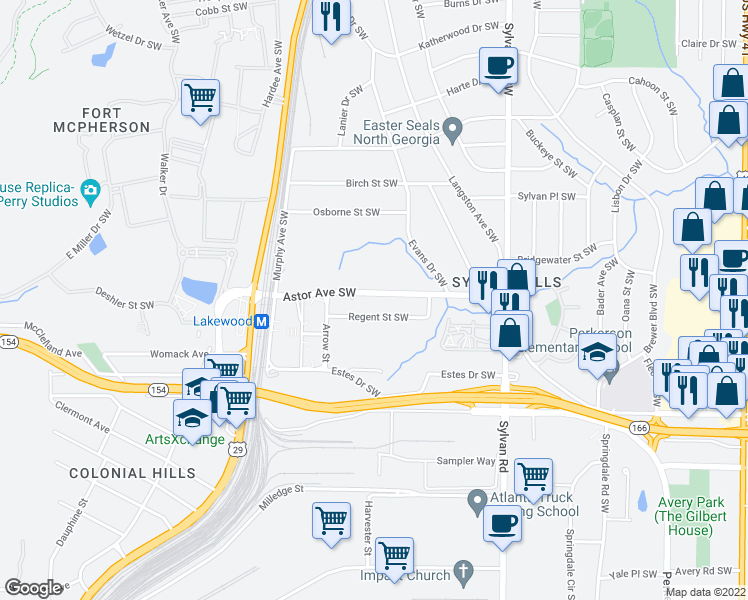 map of restaurants, bars, coffee shops, grocery stores, and more near 1082 Astor Ave SW in Atlanta