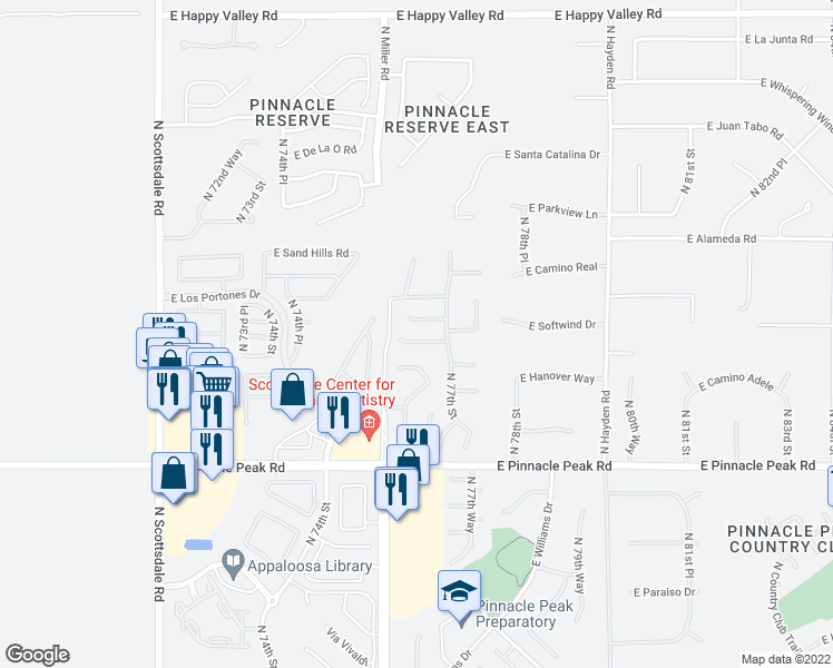 map of restaurants, bars, coffee shops, grocery stores, and more near 7642 East Starla Drive in Scottsdale