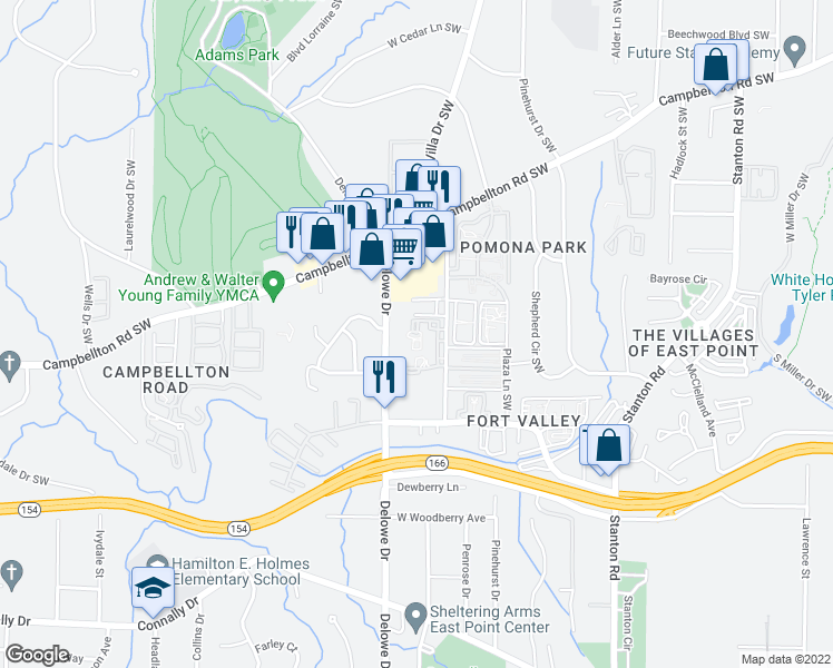 map of restaurants, bars, coffee shops, grocery stores, and more near 1881 Myrtle Drive Southwest in Atlanta