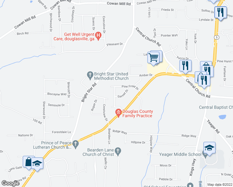 map of restaurants, bars, coffee shops, grocery stores, and more near 6344 Garnet Drive in Douglasville