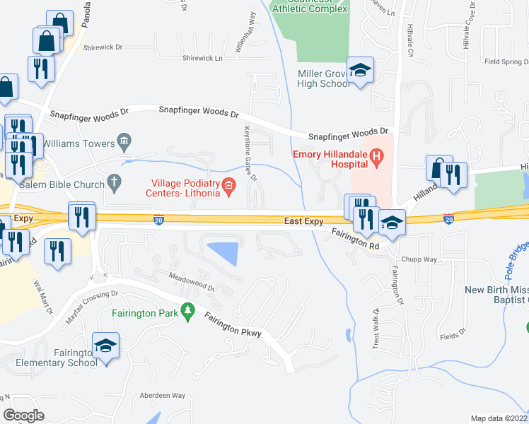 map of restaurants, bars, coffee shops, grocery stores, and more near 5775-5789 Hillandale Drive in Lithonia