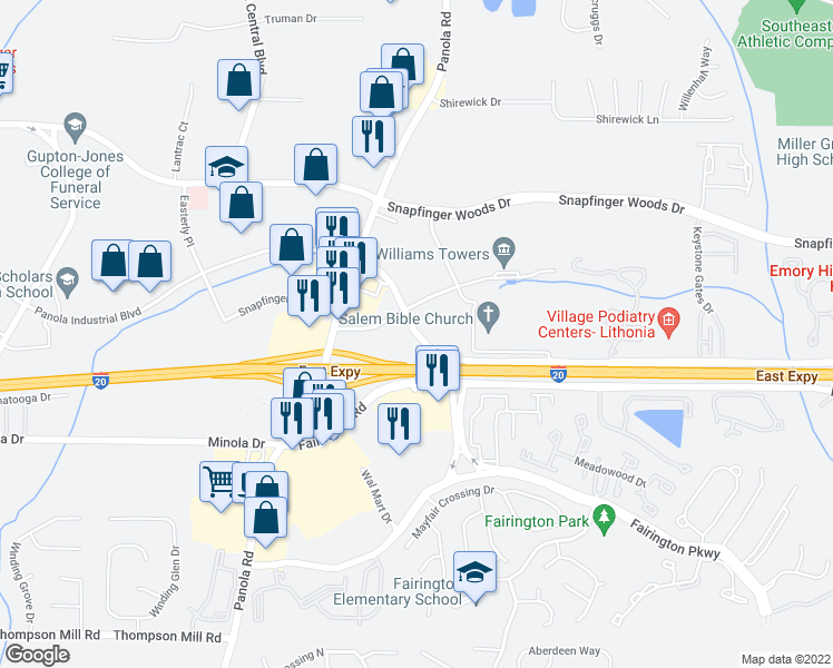 map of restaurants, bars, coffee shops, grocery stores, and more near in DeKalb County