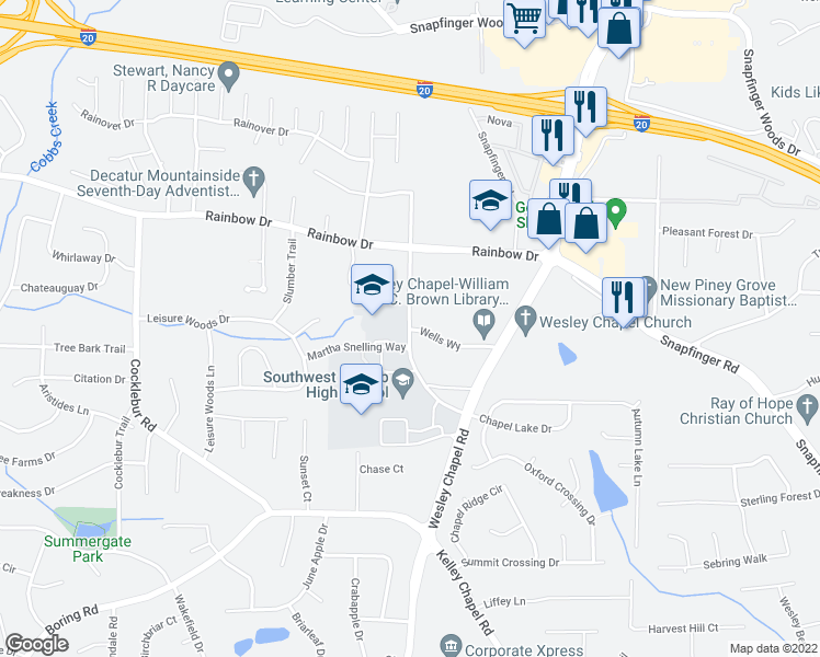 map of restaurants, bars, coffee shops, grocery stores, and more near 2760 Kelley Chapel Rd in Decatur