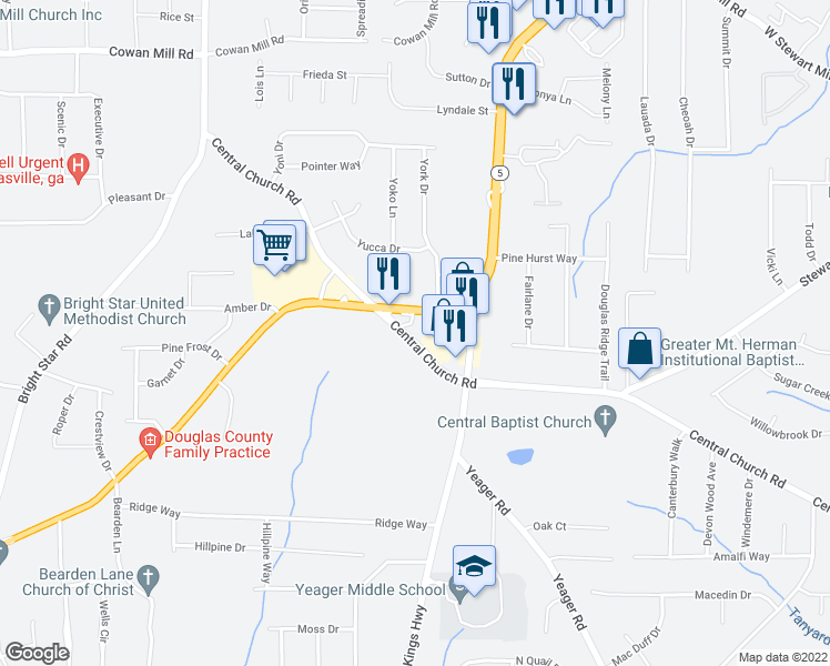 map of restaurants, bars, coffee shops, grocery stores, and more near 3713 Kings Highway in Douglasville