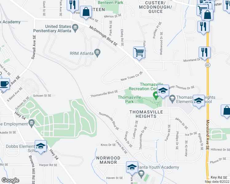 map of restaurants, bars, coffee shops, grocery stores, and more near 580 Thomasville Boulevard Southeast in Atlanta