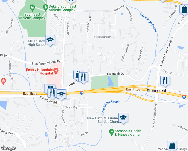 map of restaurants, bars, coffee shops, grocery stores, and more near 6093-6169 Hillandale Dr in Lithonia